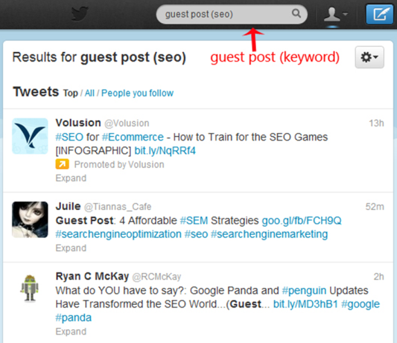 twitter search for guest post