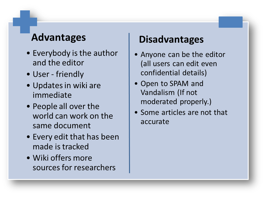 Advantages and Disadvantages of Using Wiki Sites