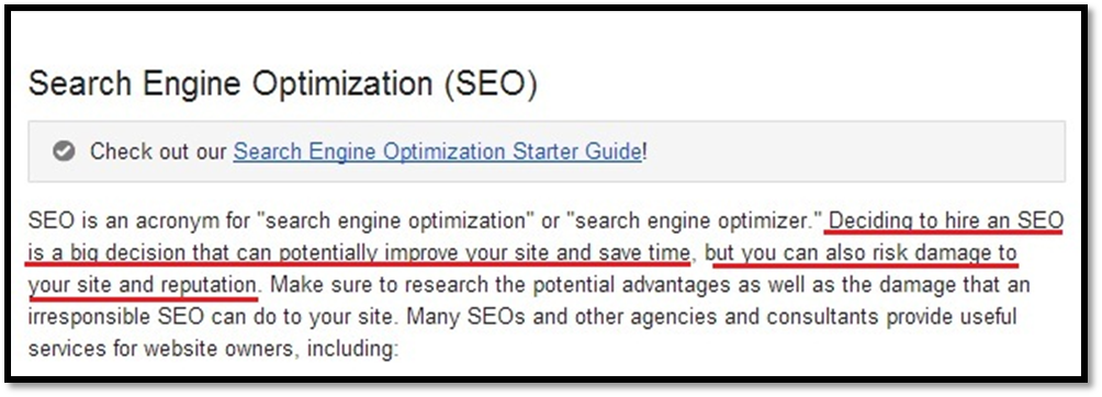 SEO defined by GWT Help
