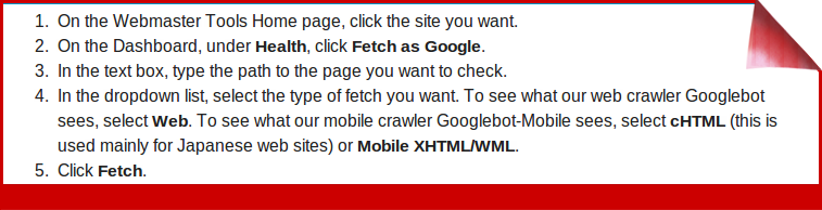 instructions for fetch as Google