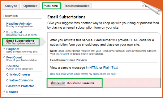 activate email subscription