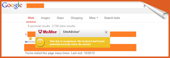 if you have installed site advisor while searching