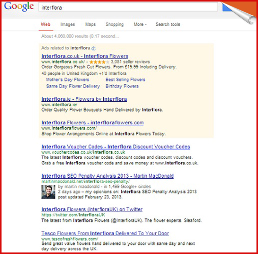 Interflora rankings in Google