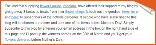 content from a blog with Interflora links