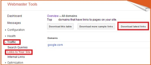 download latest links in webmaster tool
