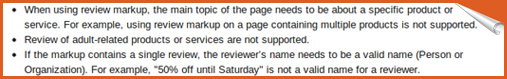 rules for rich snippet for reviews