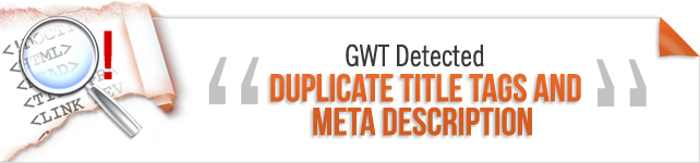 Duplicate title tags and Meta description